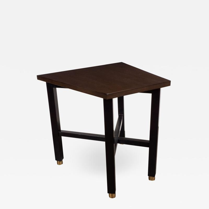 Dunbar Mid Century Modern Trapezoidal Walnut Side Table with Brass Sabots by Dunbar