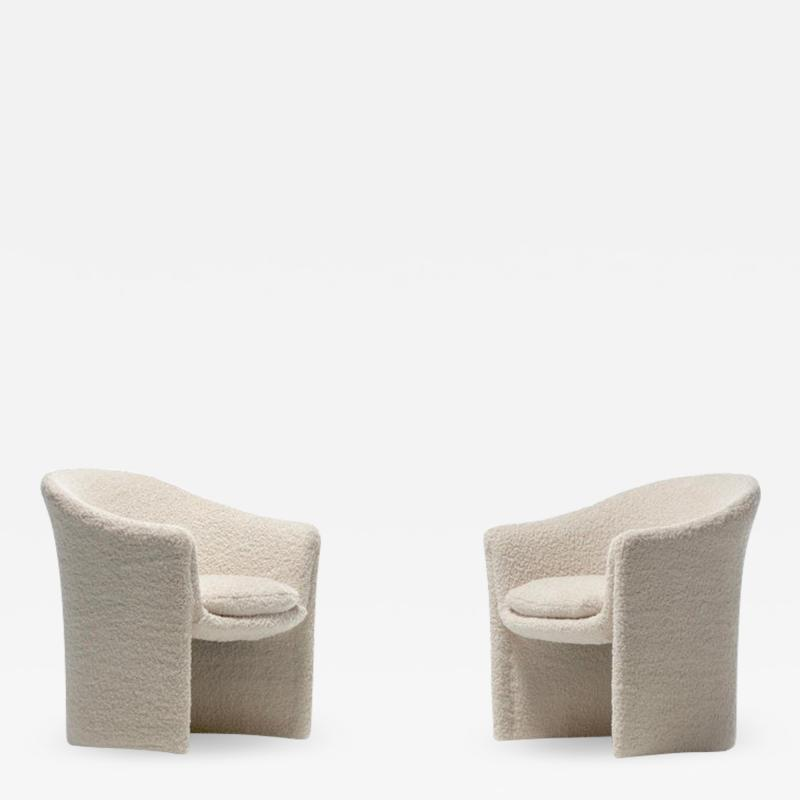 Dunbar Pair of 1970s Sculptural Dunbar Chairs in Ivory Boucl