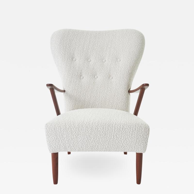 Dux 1950s DUX Walnut High Back Lounge Chair