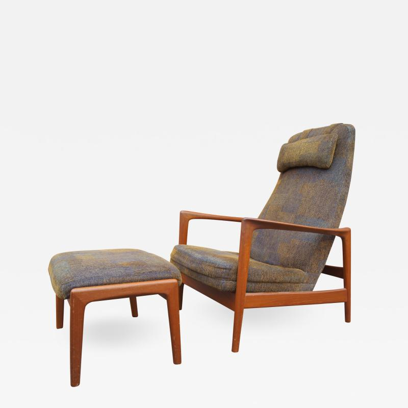 Dux Teak Lounge Chair and Ottoman by Folke Ohlsson for Dux