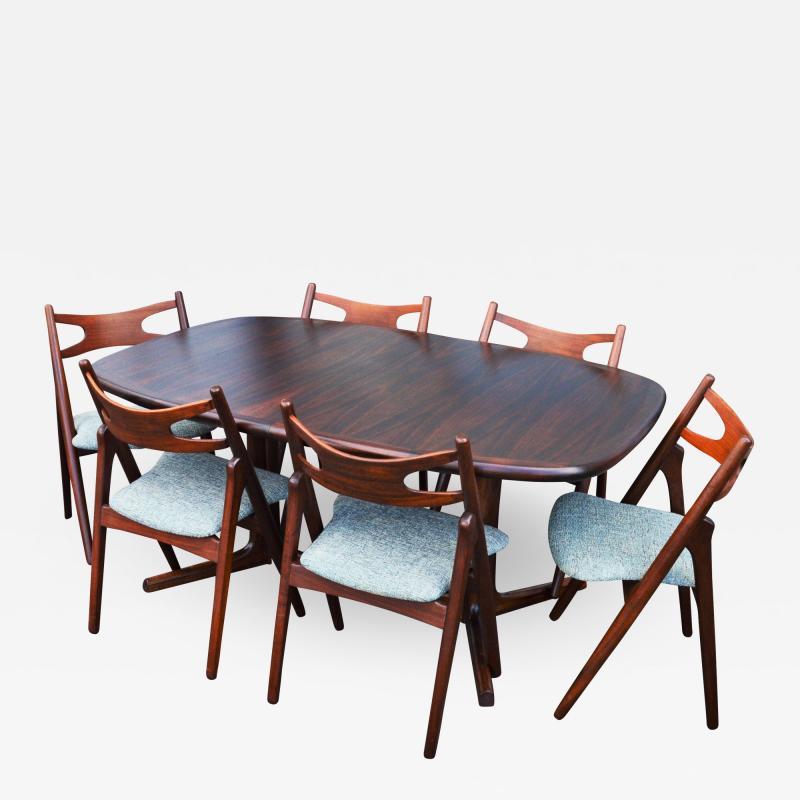 Dyrlund Gorgeous Rosewood 2 Leaf Oval Pedestal Dining Table by Dyrlund