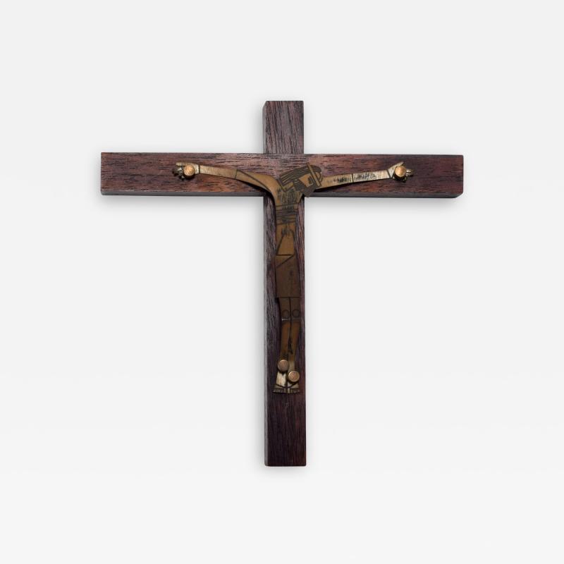 EMAUS Mid Century Modern Wood Sculptured Brass Cross by Emaus Mexico