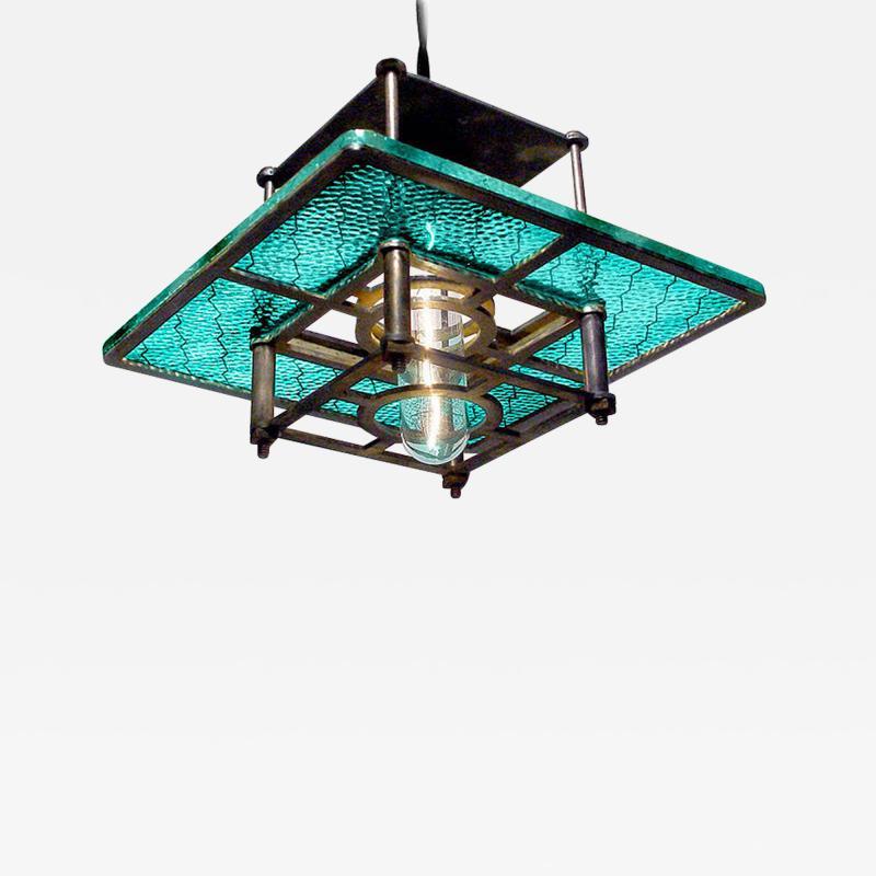 Early Electrics LLC Skeletal Industrial Blue Wire Glass Pendant Lamps