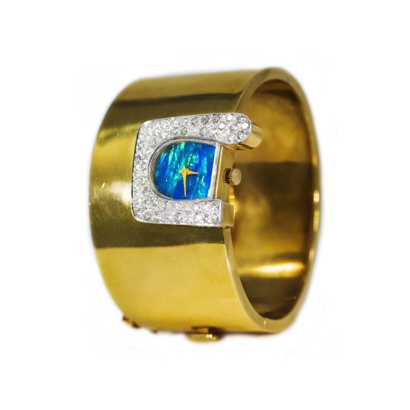 Ebel 1970s Ebel 18Kt Gold Platinum Diamond Set Opal Cuff Bangle Bracelet Watch