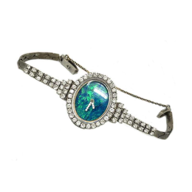 Ebel Gorgeous 1970s Opal Ebel w 3 Carats 18kt White Gold Opal Diamond Set Watch