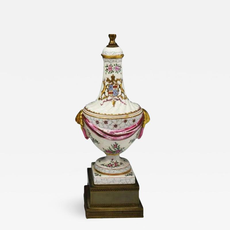 Edme Samson et Cie Antique Samson Porcelain Armorial Crest Urn Form Table Lamps Crawford