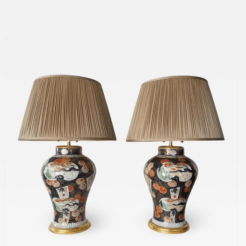 Edme Samson et Cie Pair of Samson Imari Lamps Mallett London