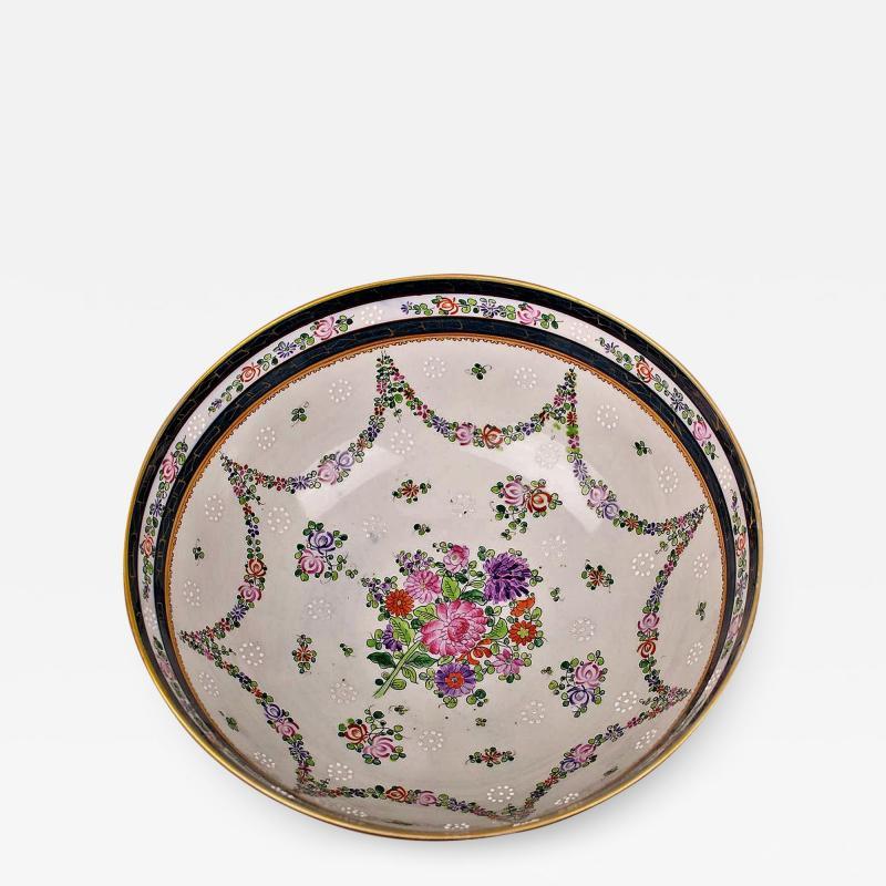 Edme Samson et Cie Samson Porcelain Bowl in the Chinese Export Armorial Taste France Circa 1910