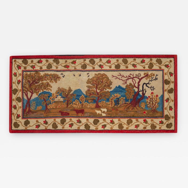 Elliott Grace Snyder Exceptional Yarn Sewn Rug c 1825