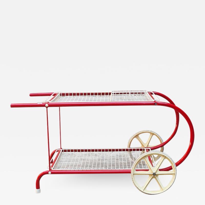 Emu Red metal food cart by Emu 1980s