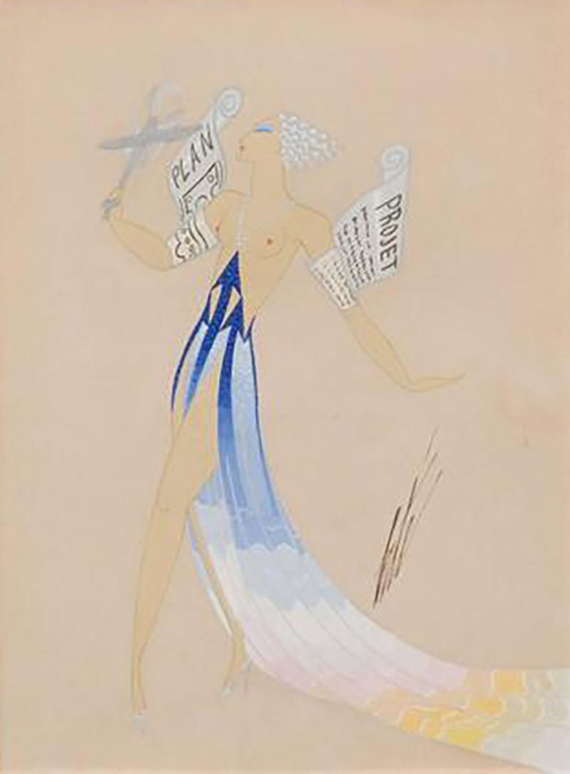 Ert Original Art Deco Gouache on Paper by Erte in White Gold Custom Frame