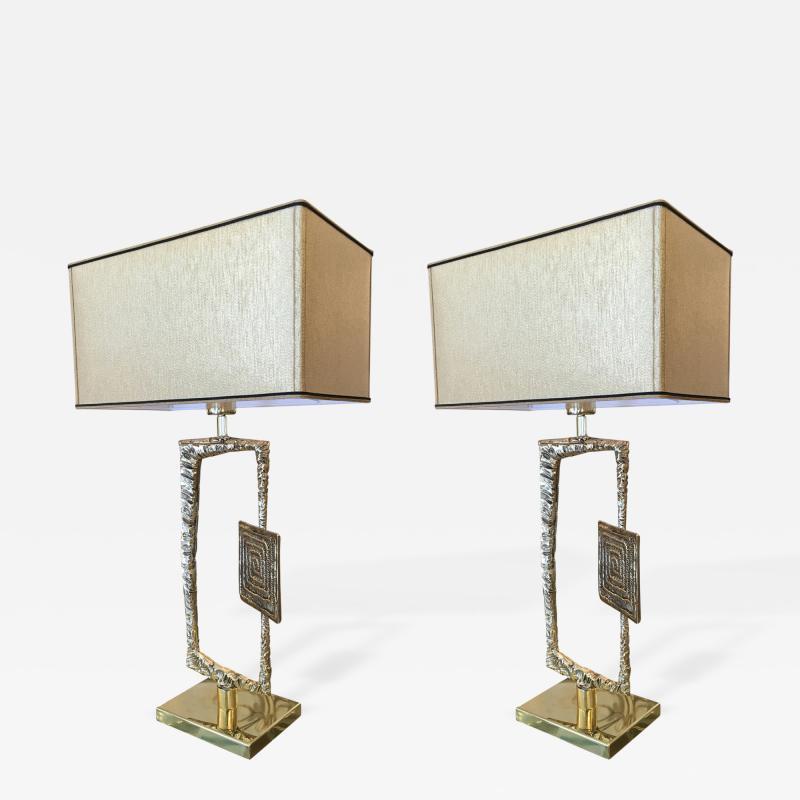 Esperia Sculptural Cast Bronze Tea Table Lamps by Esperia