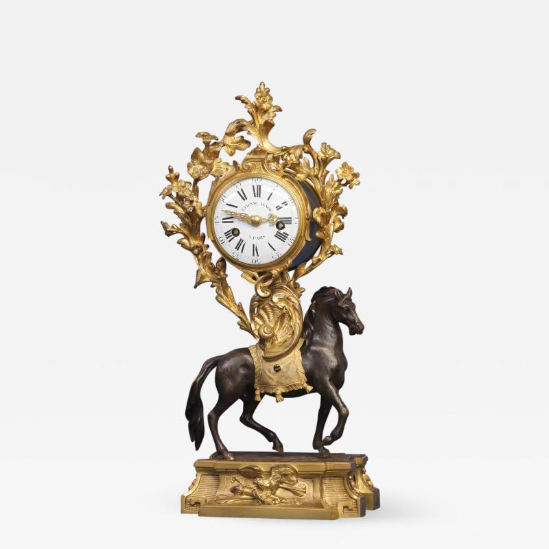 Etienne Lenoir c 1765 Ormolu and Patinated Horse Clock