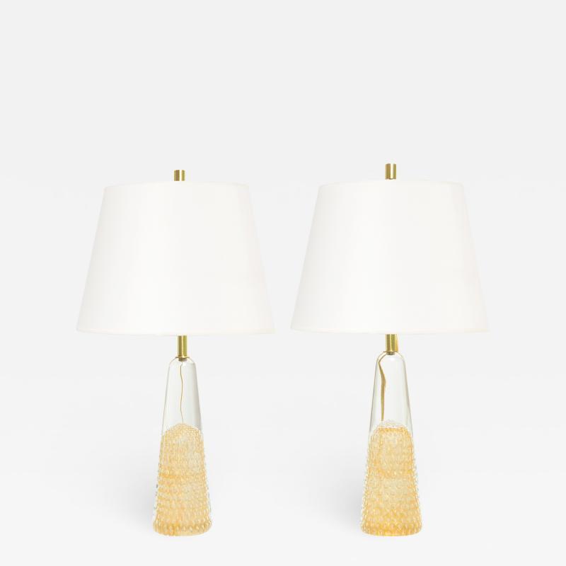 FM Marcolin Crystal Art Pair Scandinavian Modern Lamps from FM Marcolin Art Crystal Ronneby Sweden