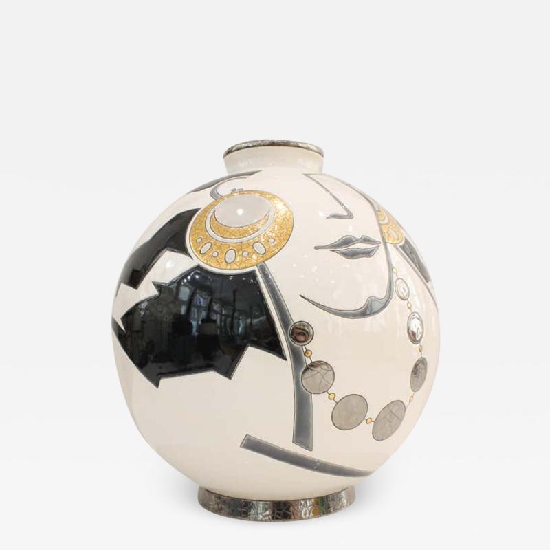 Fa enceries et Emaux de Longwy Vase Emaux de Longwy Femme au collier Art Deco