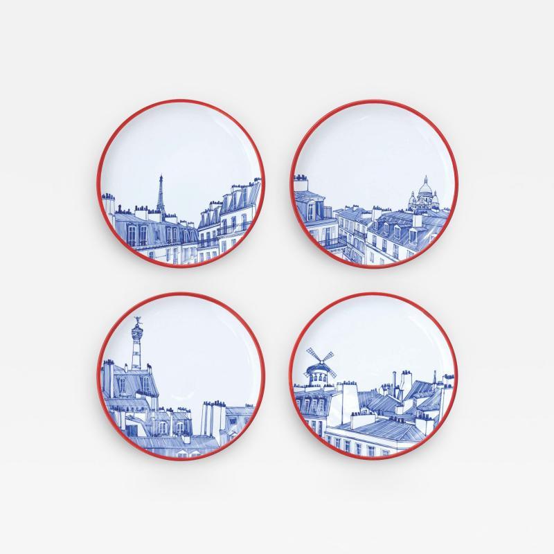 Faiencerie Georges Paris Plate Set 4 Iconic Rooftops