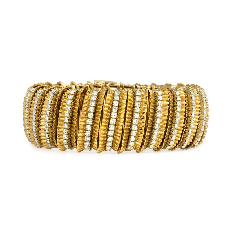 Faraone Faraone 1970s Gold and Diamond Ribbed Design Bracelet