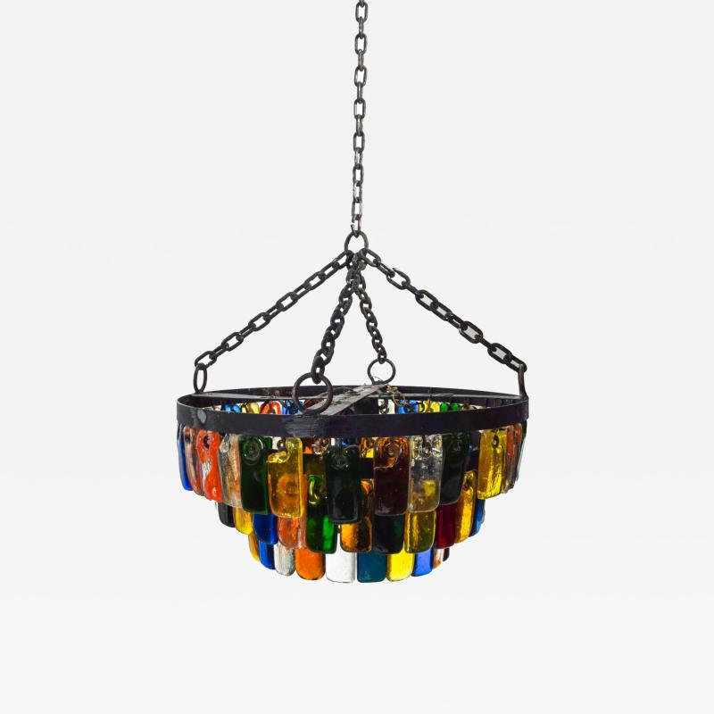 Feders MidCentury Mexican Modernist Chandelier by FEDERS Delfinger 3 Tiers Color Glass