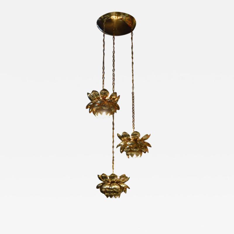 Feldman Lighting Co Brass Lotus Blossoms Pendant Chandelier