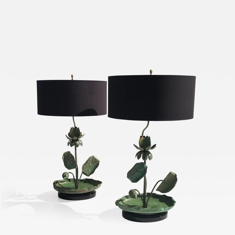 Feldman Lighting Co Brass Lotus Lamps in Verdigris Patina
