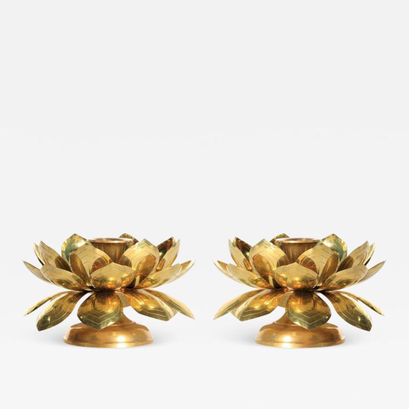 Feldman Lighting Co Feldman Brass Lotus Candle Holders in the Style of Parzinger