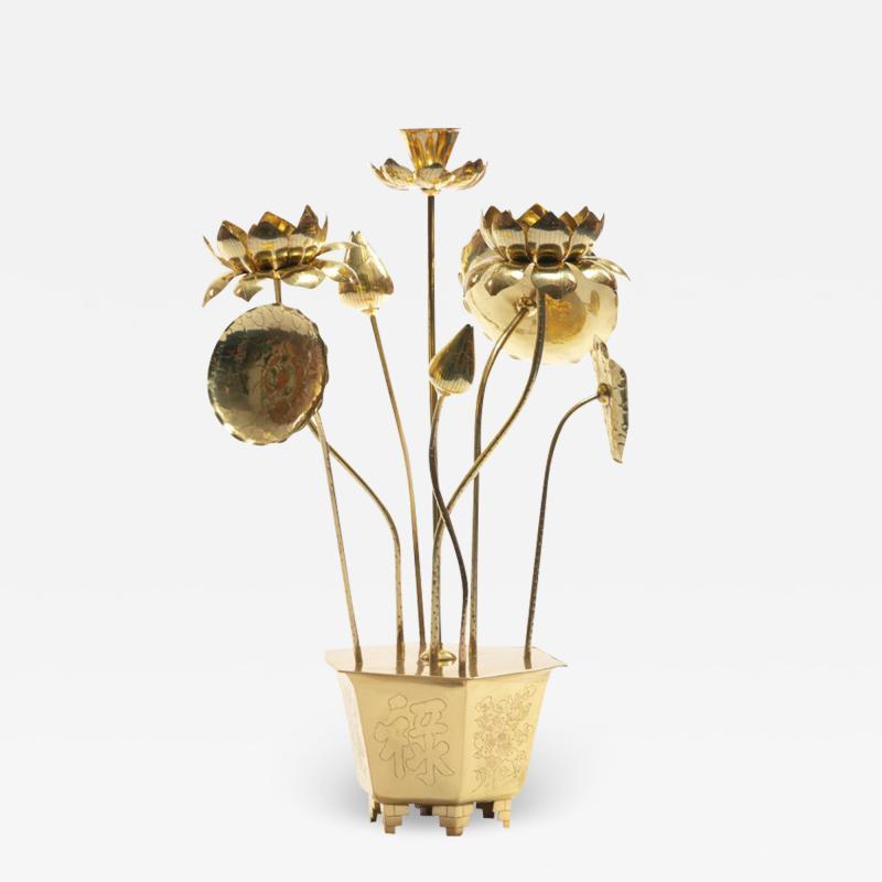 Feldman Lighting Co Feldman Chinoiserie Adjustable Brass Lotus Bouquet Sculpture circa 1970