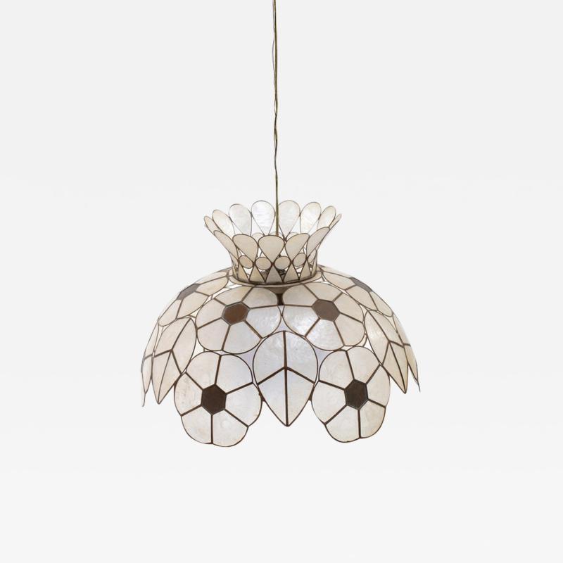 Feldman Lighting Co Feldman White Capiz Shell and Brass Floral Themed Pendant Light Pair Available