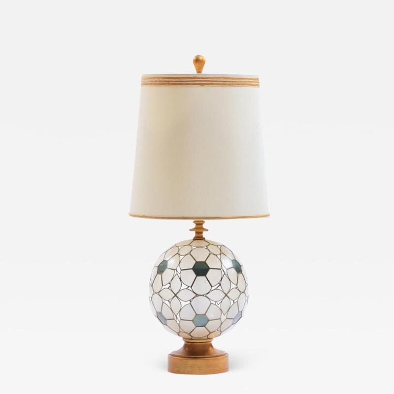 Feldman Lighting Co Feldman White Capiz Shell and Brass Table Lamp circa 1960