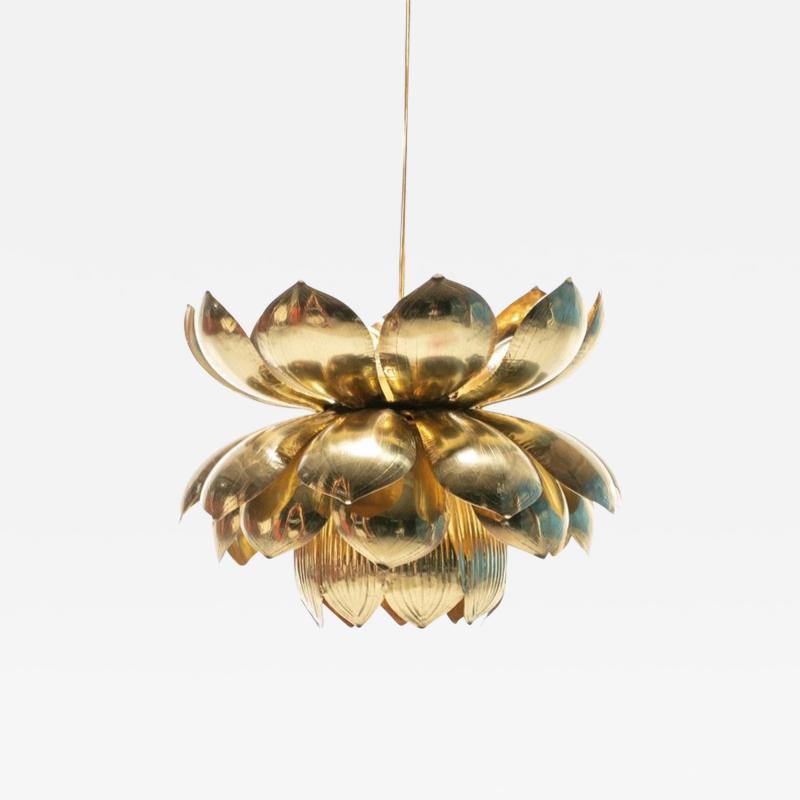 Feldman Lighting Co Large Brass Lotus Fixture by Feldman Lighting Company in the Style of Parzinger