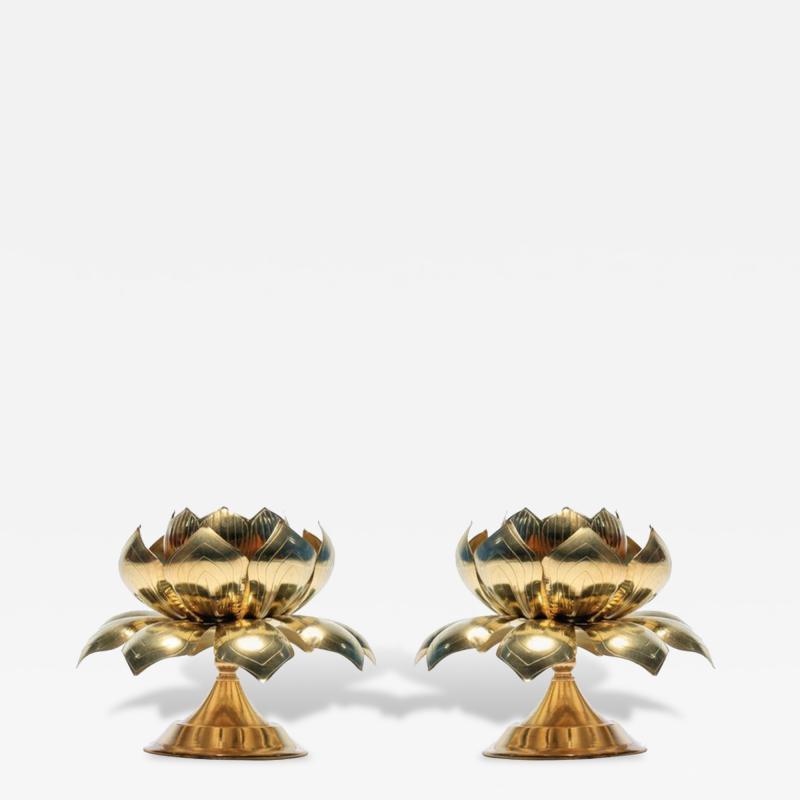 Feldman Lighting Co Large Centerpiece Lotus Candle Holders Pair Available