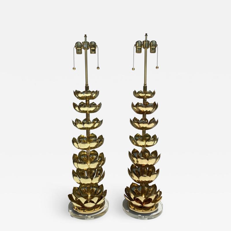 Feldman Lighting Co Pair of Brass Lotus Lamps