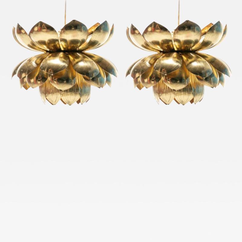 Feldman Lighting Co Pair of Large Brass Lotus Fixtures by Feldman in the Style of Tommi Parzinger