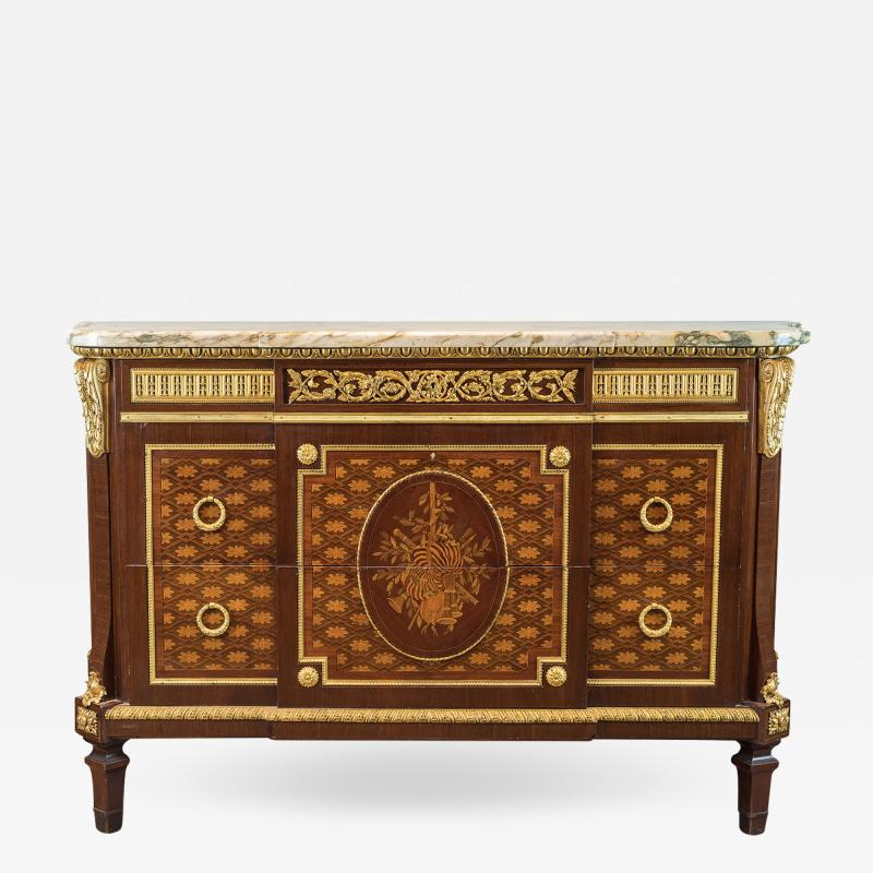 Forest Ormolu Mounted Parquetry Marquetry Mahogany Marble Top Commode