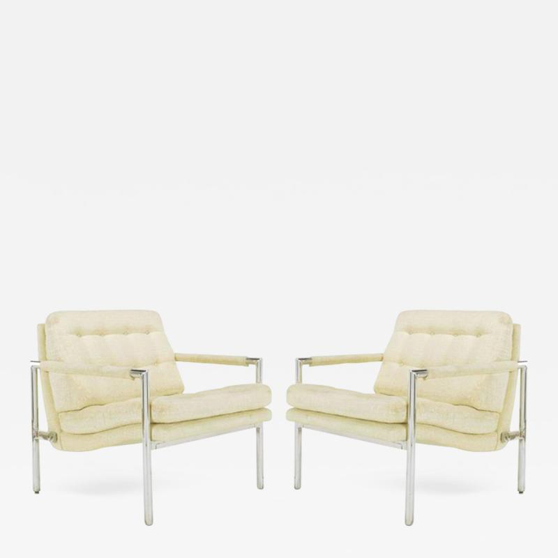 Founders Furniture Company Pair of Polished Aluminum Linen Lounge Chairs in the Manner of Harvey Probber