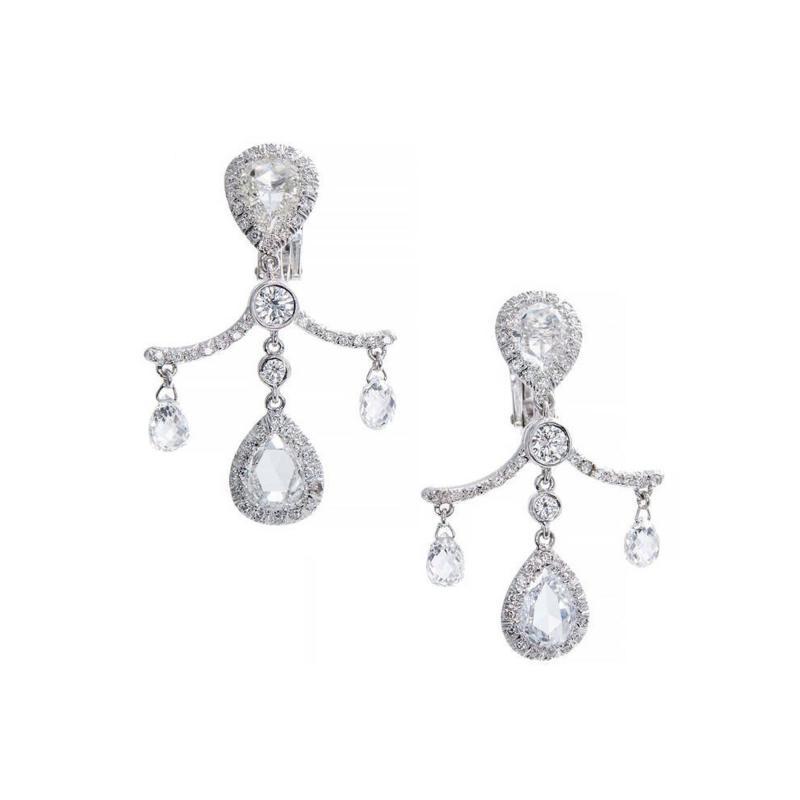 Fred Leighton Fred Leighton Pear Cut Briolette Diamond Platinum Dangle Earrings