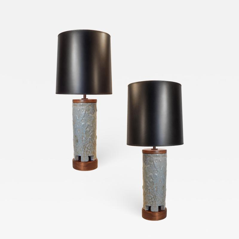 Frederick Raymond Pair of Mid Century Ceramic Table Lamps