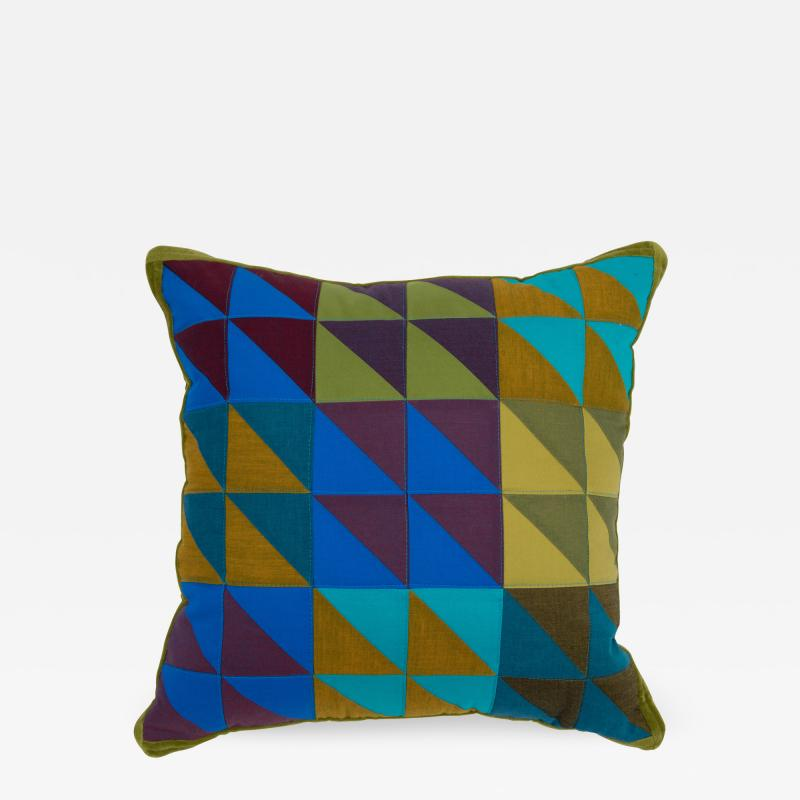 Full Circle Modern Original One of a kind square quilted pillow in green blue and lavender cotton