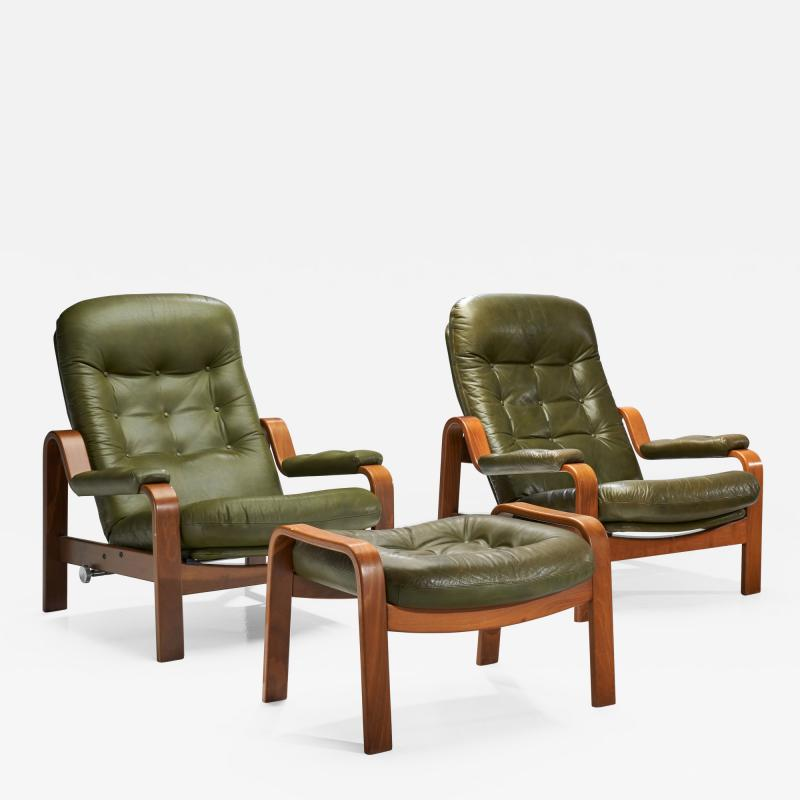 G te M bler N ssj Pair of Relax II Chairs and a Foot Stool by G te M bler Nassj AB Sweden 1970