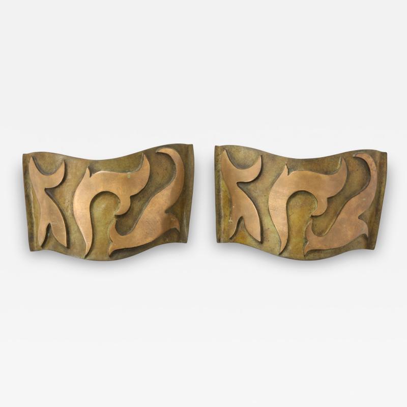 Garouste Bonetti Pair of Bronze Sonate Sconces by Garouste Bonetti