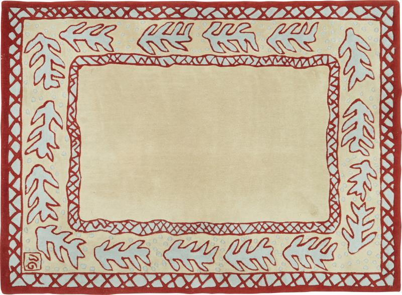 Garouste Bonetti Red beige and light green wool Rug by Garouste and Bonetti 1993