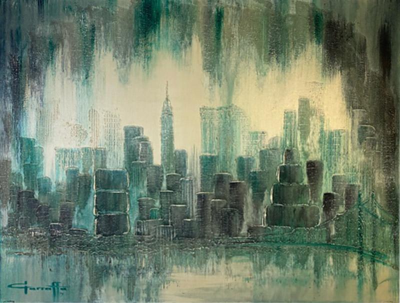 Garraffa MODERN 1970S NYC SKYLINE PAINTING BY GARRAFFA