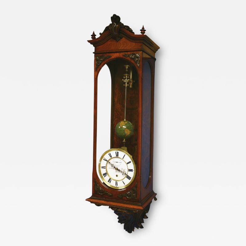 Gebhard Bosch L beck c 1877 German Carved Walnut Long Running Conical Wall Regulator Clock