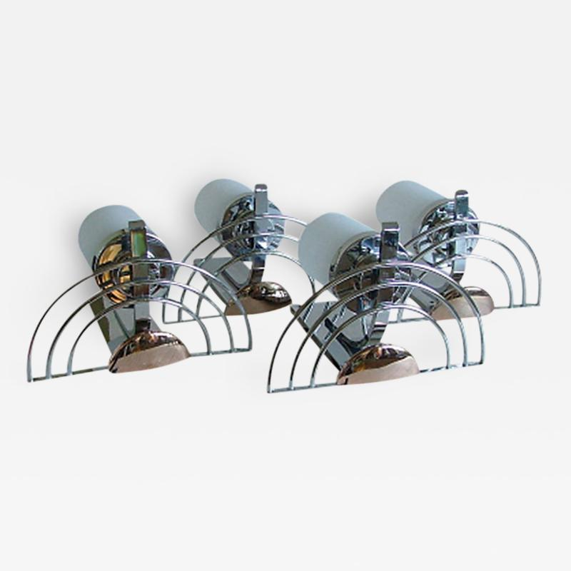 General Electric Four English Streamline Moderne Art Deco Sconces
