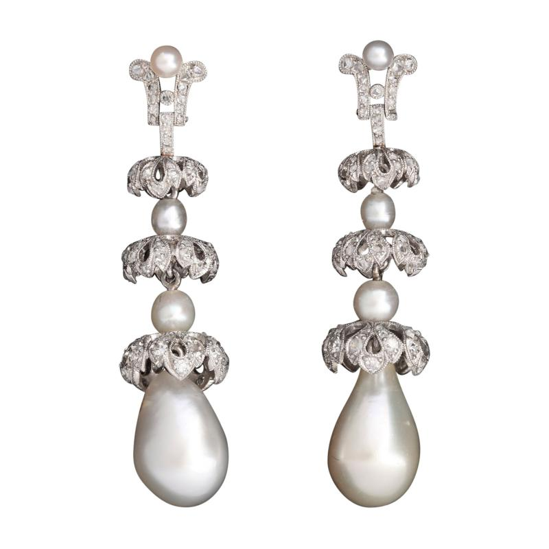 Ghis Art Deco Natural Pearl Diamond Earrings in Platinum by Ghiso