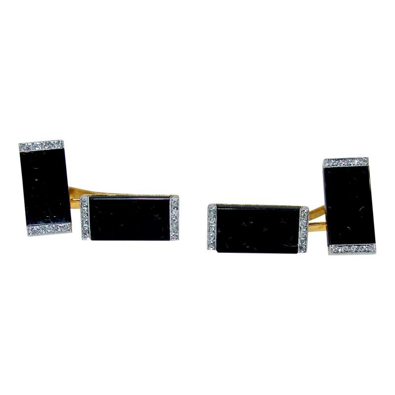 Ghis Ghiso Art Deco Onyx and Diamond Cufflinks