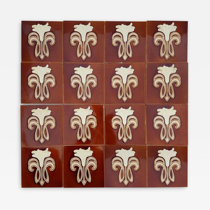 Gilliot 30 Art Jugendstil Ceramic Tiles by Gilliot Fabrieken Te Hemiksem circa 1920