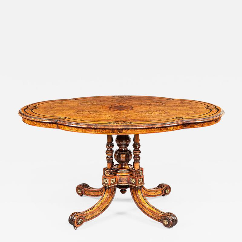 Gillows of Lancaster London 19th Century Shaped Centre Table with Inlay and Gilt Metal by Gillows
