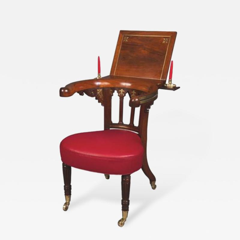 Gillows of Lancaster London A Very Fine Rosewood and Brass Inlaid Regency Library Reading Chair