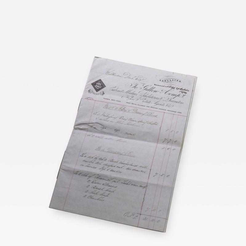 Gillows of Lancaster London Gillows Furniture and Furnishings Invoice dated 1874