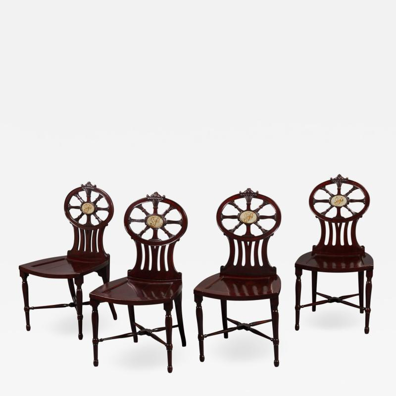 Gillows of Lancaster London Gillows Magnificent and Rare Set of Mahogany Hall Chairs c 1790